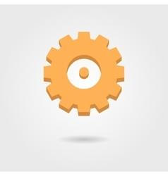 orange gear icon with shadow vector image