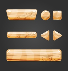 Set of wooden button for game design-4 vector image
