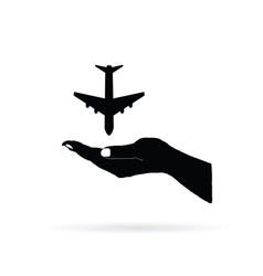 aircraft in hand black vector image