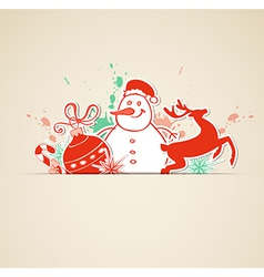 Christmas background with paper decoration vector image