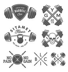 Set of vintage gym emblems and design elements vector