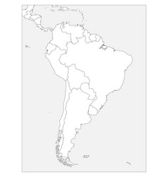 blank political map of south america simple flat vector image