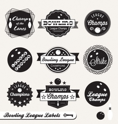 Bowling League Champs Labels vector image vector image