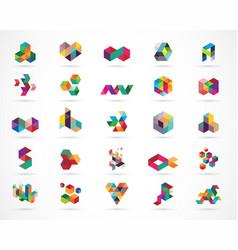 Creative digital colorful logo collection vector