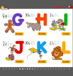 educational cartoon alphabet for kids vector image vector image