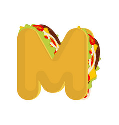 letter m tacos mexican fast food font taco vector image vector image