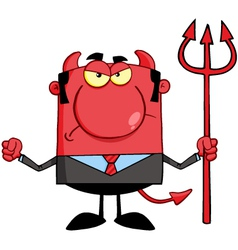 Angry Devil With A Trident vector image