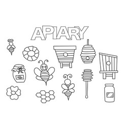apiary bees and honey elements hand drawn set vector image