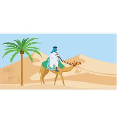 Arabian guy riding his camel trough desert vector
