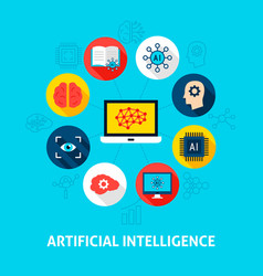 Artificial intelligence concept icons vector