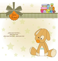 baby shower card with puppy vector image