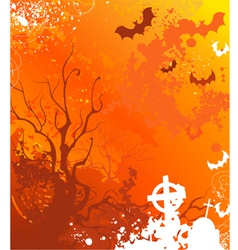 background on halloween with withered trees and ab vector image