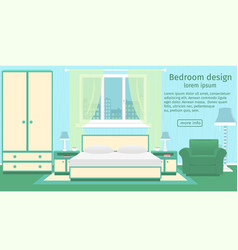 banner of a bedroom interior with furniture and vector image