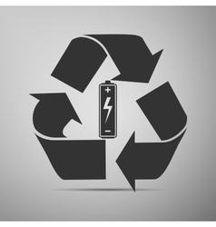 Battery with recycle symbol - renewable energy vector