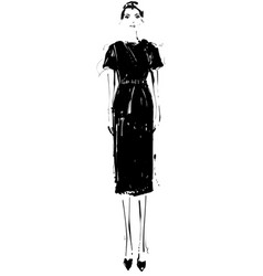 Beautiful young girl in the dress fashion model vector