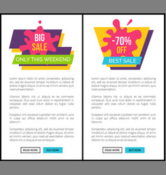 big sale only this weekend total end discounts 70 vector image
