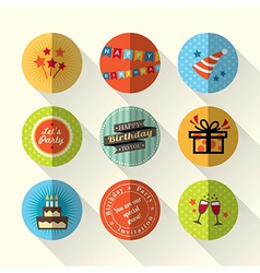 Birthday party flat icon set vector image