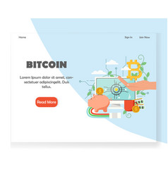 bitcoin investment website landing page vector image