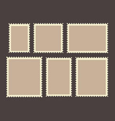 Blank postage stamps frames set isolated on vector