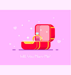 box with engagement ring vector image