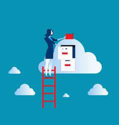 Businesswoman on top of ladder putting file in vector