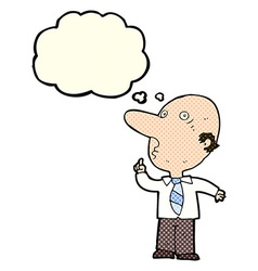 Cartoon bald man asking question with thought vector