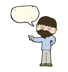 Cartoon bearded man pointing with speech bubble vector