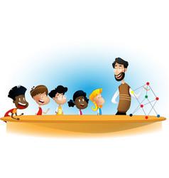 cartoon boys and girl with teacher vector image