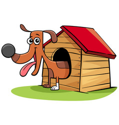 Cartoon dog animal character in his doghouse vector