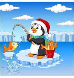Cartoon penguin fishing on the ice vector