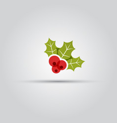 Christmas berries isolated colored icon vector