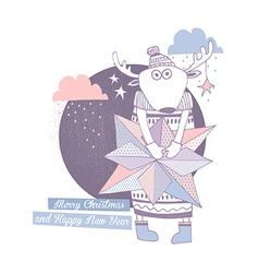 Christmas card deer vector image