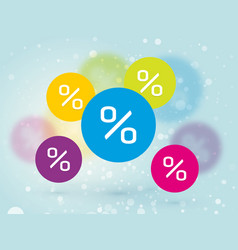 color sign discount sale snow blue background vector image