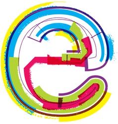 Colorful Grunge font letter e vector image