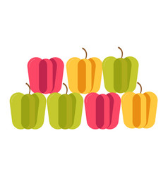 Colorful sweet bulgarian peppers stand in neat vector