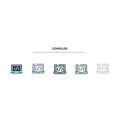 compiler icon in different style two colored and vector image