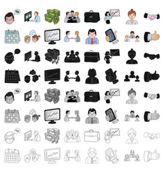 Conference and negetiations set icons in cartoon vector