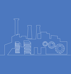 continuous one line factory concept concept vector image