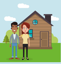 Couple with house home image vector