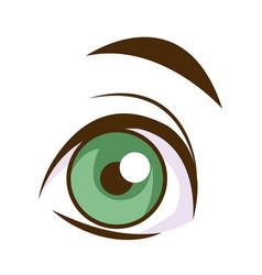 cute cartoon eye eyebrow emotion look vector image