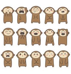 Cute monkey character design vector
