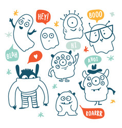 cute monsters and ghosts colorful doodles vector image