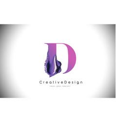 d letter design brush paint stroke purple d vector image