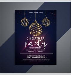 dark christmas flyer with glittering xmas balls vector image