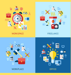 digital blue red work space icons vector image