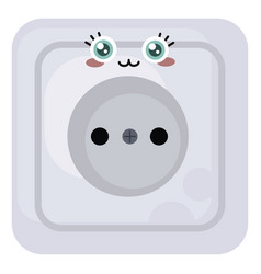 Electric socket with a face on white background vector