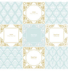 elegant frames and damask seamless patterns set vector image