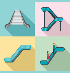 Escalator elevator icons set flat style vector