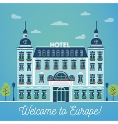 European Hotel City Hotel Vintage Building Hotel vector