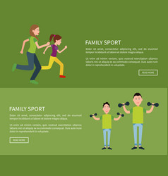 Family posters set push button read more vector